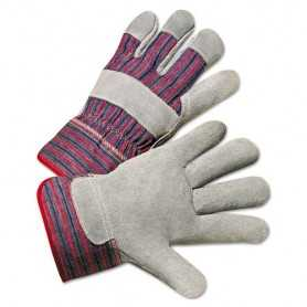 Anchor Leather Palm Work Gloves, Gray/Blue/White, Large, 12 Pairs