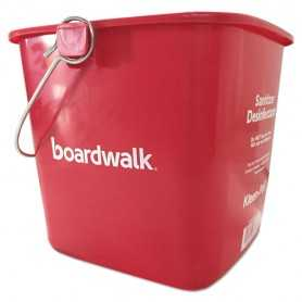 Boardwalk Sanitizing Bucket, 6 qt, Red, Plastic