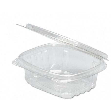 Genpak Clear Hinged Deli Container, 8oz, 5 3/8 x 4 1/2 x 1 1/2, 100/Bag, 2 Bags/Carton