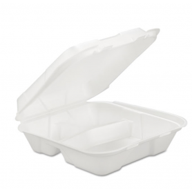 Gen Foam Hinged Container, 3-Comp, 9 1/4 X 9 1/4 X 3, 200/Carton