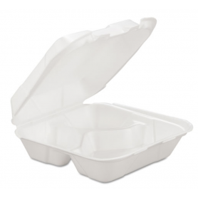 Gen Foam Hinged Carryout Container, 3-Comp, White, 8 X 8 1/4 X 3, 200/Carton