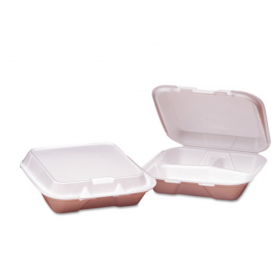 Gen Foam Hinged Containers, 3-Compartment, Small, 100/PK, 2 PK/CT
