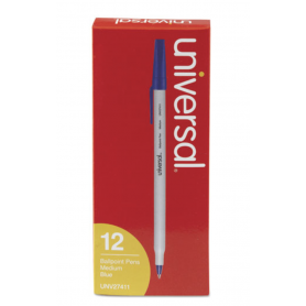 universal Stick Ballpoint Pen, Medium 1mm, Blue Ink, Gray Barrel, Dozen