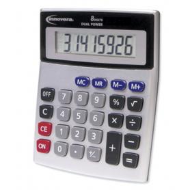 innovera 15927 Desktop Calculator, Dual Power, 8-Digit LCD Display