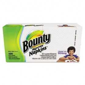 Bounty Quilted Napkins, 1-Ply, 12.1 x 12, White, 20/Carton