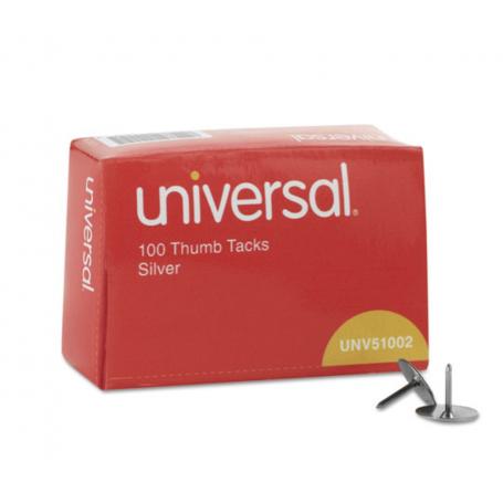"universal Thumb Tacks, Steel, Silver, 5/16"", 100/Box"