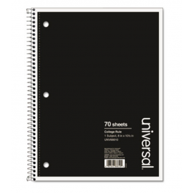 universal Wirebound Notebook, 1 Subject, Medium/College Rule, Black Cover, 10.5 x 8, 70 Pages