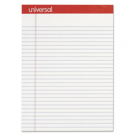 universal Perforated Writing Pads, Wide/Legal Rule, 8.5 x 11.75, White, 50 Sheets, Dozen