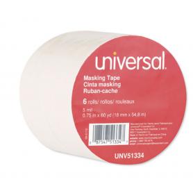 "universal General Purpose Masking Tape, 18mm x 54.8m, 3"" Core, 6/Pack"