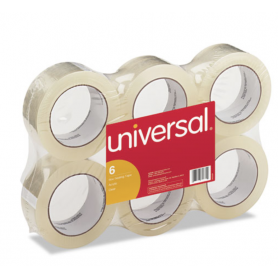 """universal General-Purpose Box Sealing Tape, 1.88 x 110yds, 3"""" Core, Clear, 6/Pack"""
