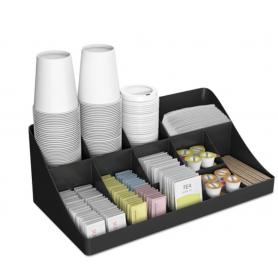 Mind Reader 11-Compartment Coffee Condiment Organizer, 18 1/4 x 6 5/8 x 9 7/8, Black