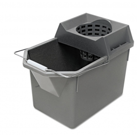 Rubbermaid Pail/Strainer Combination, 15qt, Steel Gray