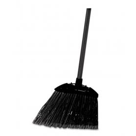 "Rubbermaid Lobby Pro Broom, Poly Bristles, 35"", with Metal Handle, Black"